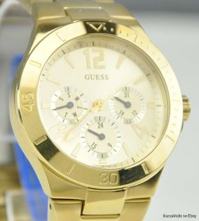 New Guess Ladies Solid Watch Gold Steel Bracellet Multifunction