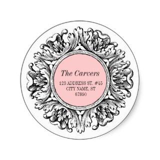Ornate Round Frame Return Address Label Pink Round Stickers