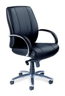 Mayline   Mid Profile Black Leather Office Chair w Rounded Arms, Metal