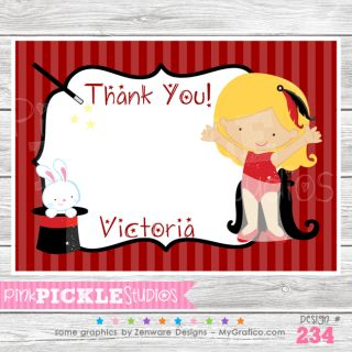 Girl #3 Personalized Birthday Party Invitation or Thank You Card 234