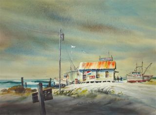 Original Watercolor by Hal McCaskill Live Bait Shack