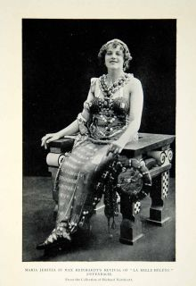 Portrait Actress Maria Jeritza Max Reinhardt Belle Helene Costume Hat
