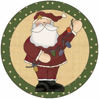 Decorating Santa Christmas Tree Ornament Cut Outs
