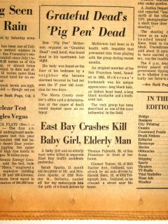 SF Examiner   PIG PEN DEAD   Ron Pigpen McKernan   GRATEFUL DEAD