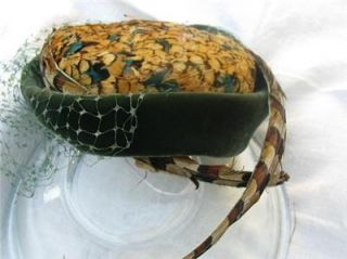 VINTAGE HAT JACK MCCONNELL RED FEATHER OOAK GREEN VELVET SMALL & BIG