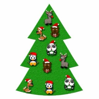 Cute Christmas Tree with Cartoon Animals Ornaments Photo Cut Outs