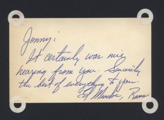 Ed Meador Los Angeles Rams Signed Autographed Auto Index Card JC LOA