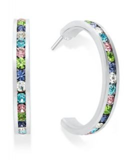 Traditions Sterling Silver Earrings, Channel Set Multicolor Swarovski