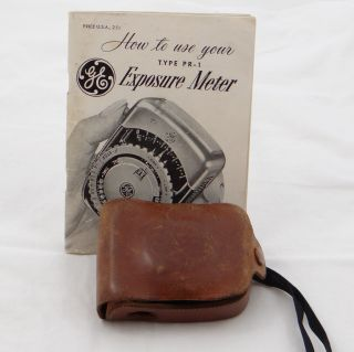 General Electric GE Light Exposure Meter Type PR 1 Brown Leather Case