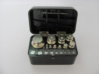 Vintage Medical Apothecary Scale Weights Set Boxed Mint