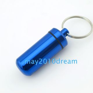 Keychain Key ring WaterProof Mini Aluminum Pill Box Case Bottle Holder