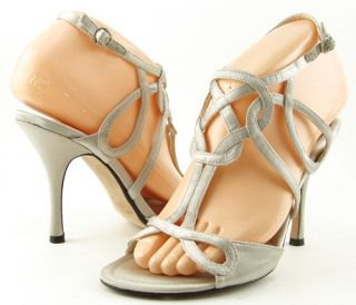 Maxstudio Soraia Silver Satin T Strap Womens Shoes Wedding Sandals 9