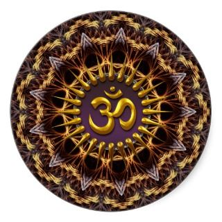Fractal Weave Golden (Aum) Symbol Sticker
