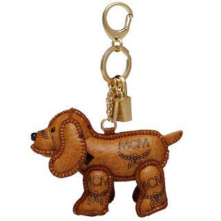 MCM Dog Cognac Visetos Key Chain Holder Ring Hand Made New MYZ9AVI02CO