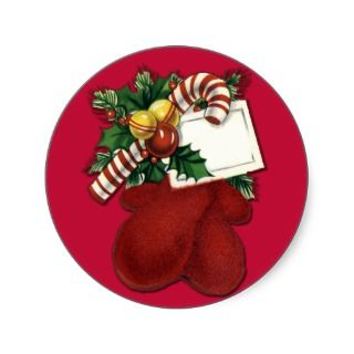 Red Mittens Gift Tag Stickers