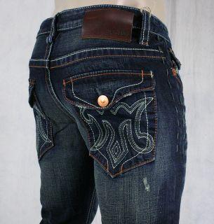 MEK Denim Jeans Mens Oaxaca Dark Blue Slim Bootcut M1OAX4X4