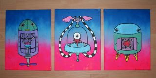 Flying Robots No 1 of 3 Original Painted Graffiti Canvas Qee Kidrobot