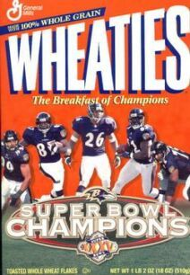 Wheaties 2001 Baltimore Ravens Superbowl Cereal Box