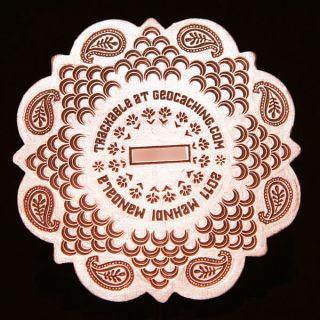 Mehndi Mandala Antique Copper Geocoin Geocaching 10mm Thick