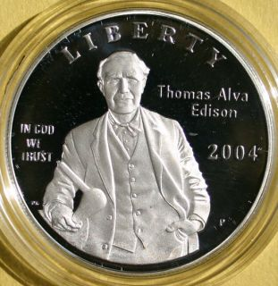 2004 Thomas Alva Edison Proof Silver Dollar Commemorative US Mint Coin