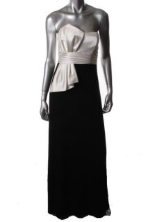 David Meister New Black White Satin Strapless Two Tone Formal Dress