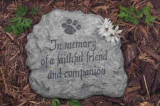 Faithful Friend Dog Cat Pet Memorial Garden Stone