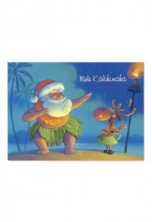 Hawaii Santa Dances Hula Mele Boxed Christmas Cards Box of 12