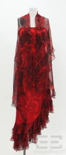 Melinda Eng Red Black Rose Print Silk Chiffon Evening Dress Shawl Size