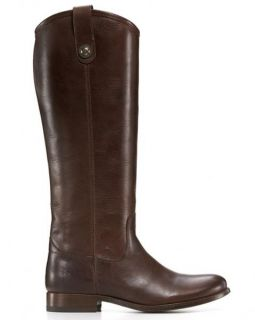 Frye Shoes Melissa Button Boots Dark Brown Tall Leather 7 7M New $328