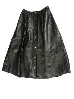 Elizabeth James Womens Ginny Leather Snap Front Long Skirt $895 New