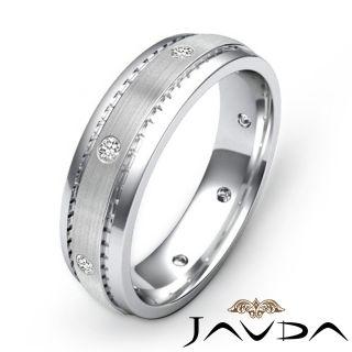Eternity Wedding Band Mens Diamond Solid Ring Matt Finish 14k Gold