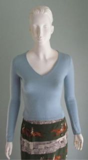 Mint Baby Blue Mendocino 100 Cashmere V Neck Pullover Sweater XS