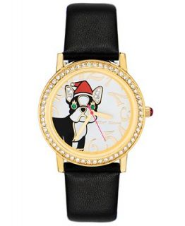 Betsey Johnson Watch, Womens Black Leather Strap BJ00052 05