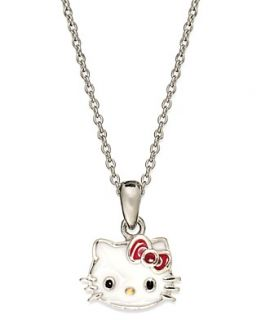 Hello Kitty Sterling Silver Necklace, Enamel Hello Kitty Face Necklace