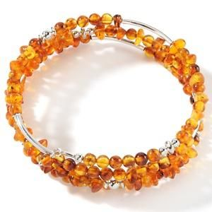 King MINE FINDS Beaded Amber Memory Wire Coil Bracelet Sterling Silver