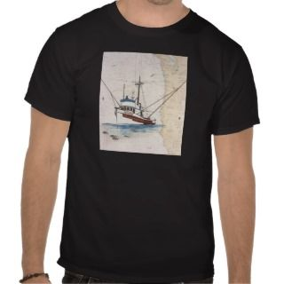 SKIPPER Tuna Fishing Boat Nautical Chart Art T Shirt