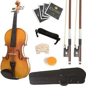 Mendini 1/2 MV400 Ebony Fitted Solid Wood Violin, Accessories, Frayed