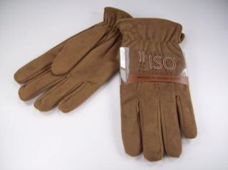 Isotoner Mens Winter Gloves Tan Microfiber Sz L ISO $40 Faux Suede