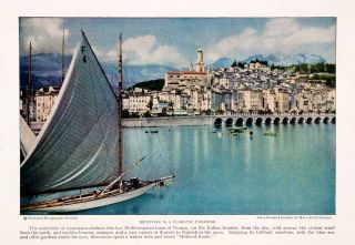 1926 Color Print Mentone France Harbor Sailboat Yacht Mediterranean