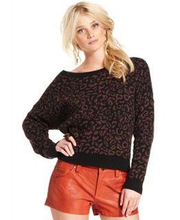 Free People Sweater, Long Sleeve Boatneck Leopard Print Top