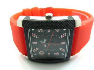 Mens Gents New Aviator Sports Quartz Designer Watch Orange Strap Black