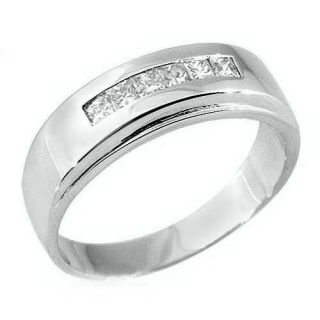 Mens 3 4 Carat Princess Square Cut Diamond Ring Wedding Band 14kt