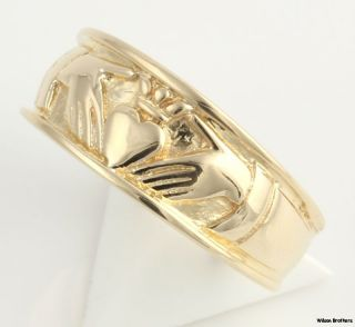 9mm Claddagh Mens Irish Wedding Band 14k Yellow Gold Detailed Fashion