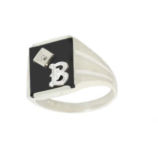 Mens 0 925 Sterling Silver Black Onyx 1 2pt Diamond Initial Solid