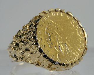 Dollar Indian Head Half Eagle Gold Coin 14k Mens Nugget Ring