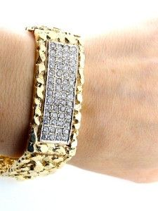 Mens 14k Gold 6ct CZ Nugget Bracelet 70 9g 21mm 8 1 4