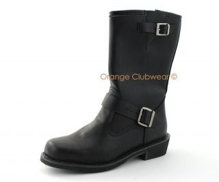 Engineer Boot Mens Motorcycle Biker Leather Calf Boots Shoes