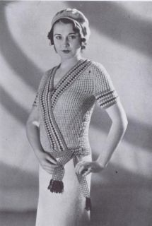 Vintage Knitting Crochet Patterns 1930s Fishnet Surplice Sweaters Bags