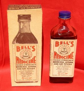 Bells Medicine Bottle with Perfect Label and Perfect Box 1920s for