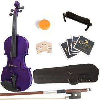 New Mendini 4 4 MV Purple Solid Wood Purple Violin Hard Case Shoulder